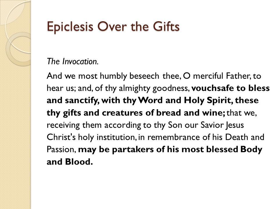 Epiclesis Over the Gifts