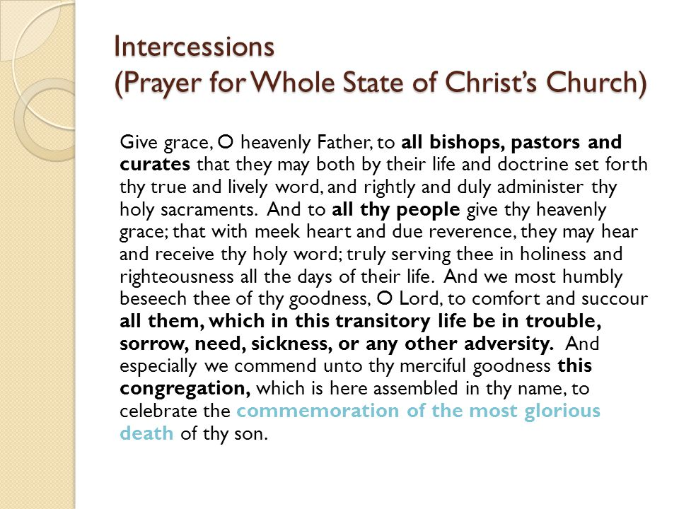 Intercessions (Prayer for Whole State of Christ's Church)