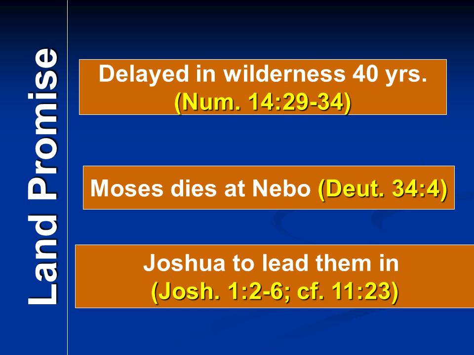 Delayed in wilderness 40 yrs. Moses dies at Nebo (Deut. 34:4)