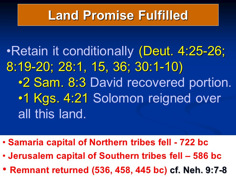 Land Promise Fulfilled