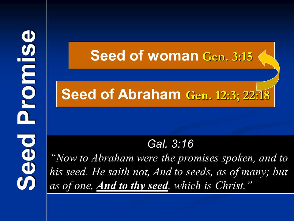 Seed Promise Seed of woman Gen. 3:15 Seed of Abraham Gen. 12:3; 22:18