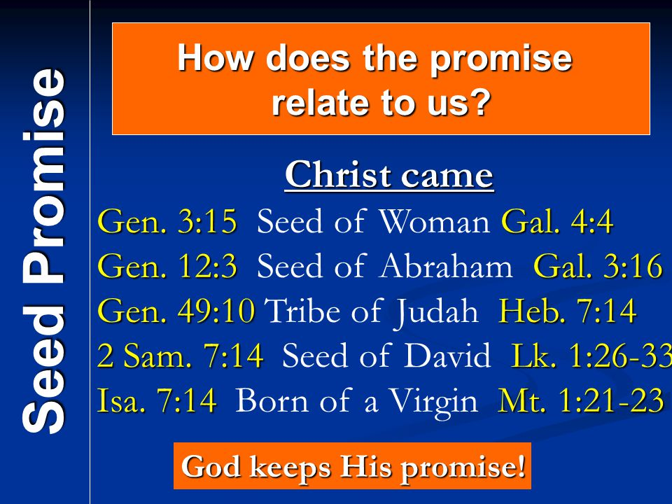 Seed Promise Christ came How does the promise relate to us