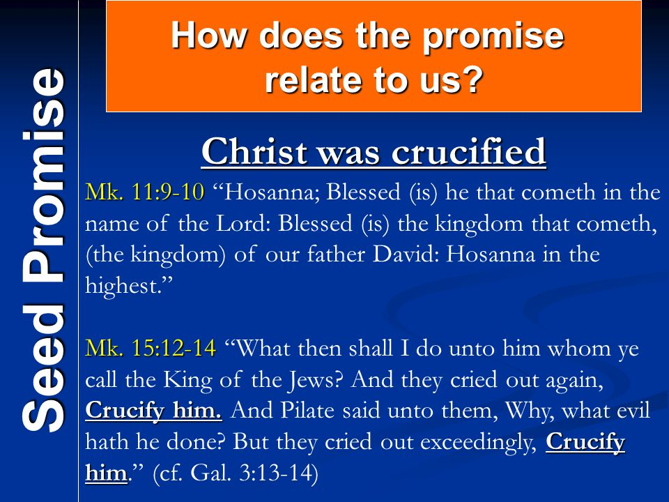 Seed Promise Christ was crucified How does the promise relate to us