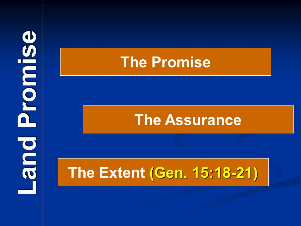The Promise Land Promise The Assurance The Extent (Gen. 15:18-21)
