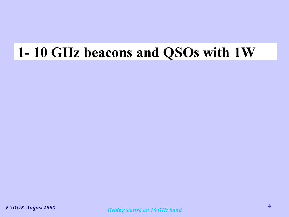 Getting started on 10 GHz band