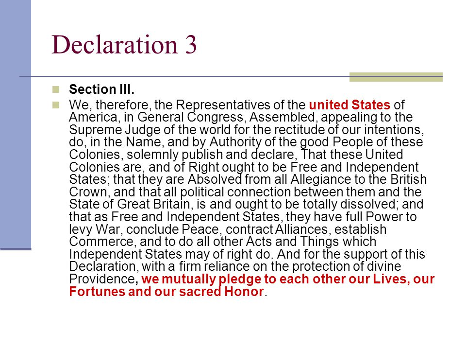 Declaration 3 Section III.