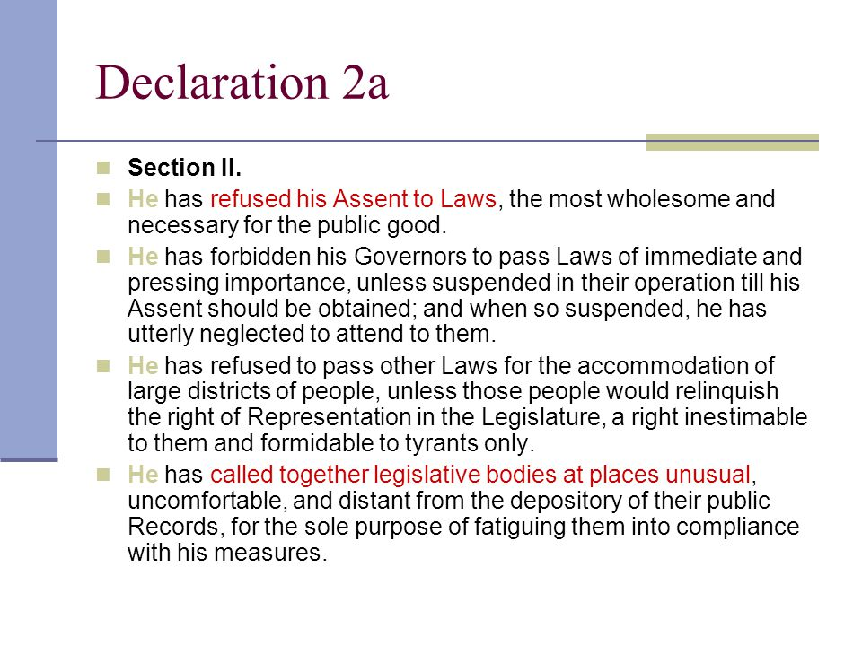 Declaration 2a Section II.