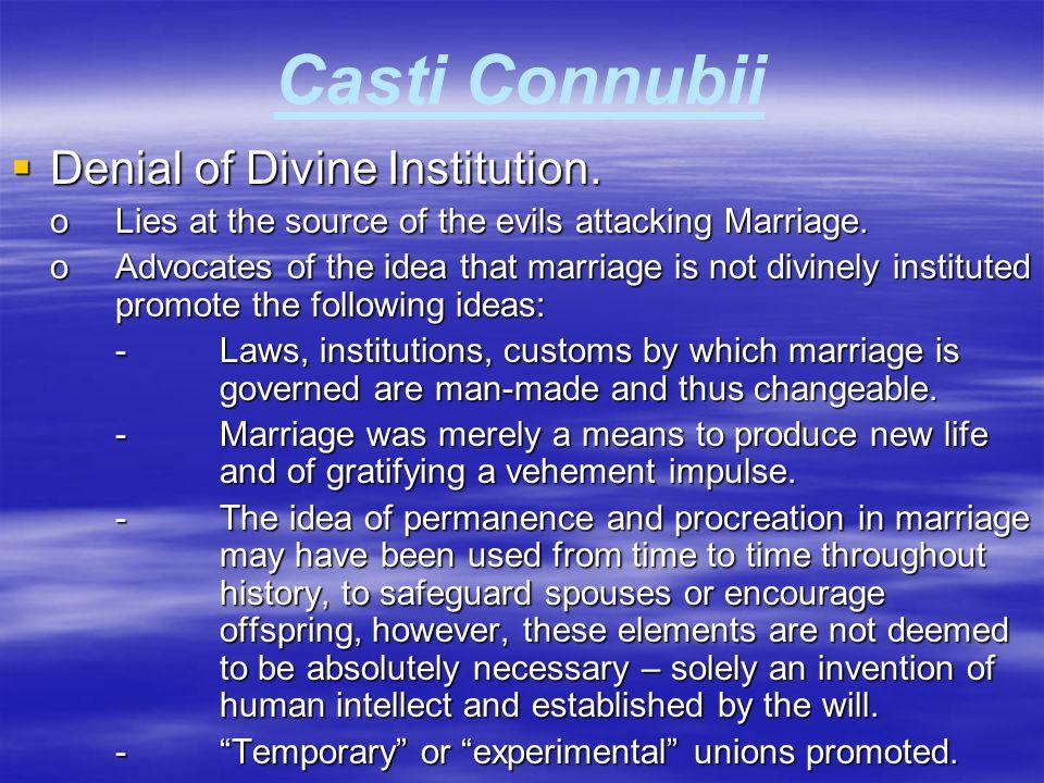 Casti Connubii Denial of Divine Institution.