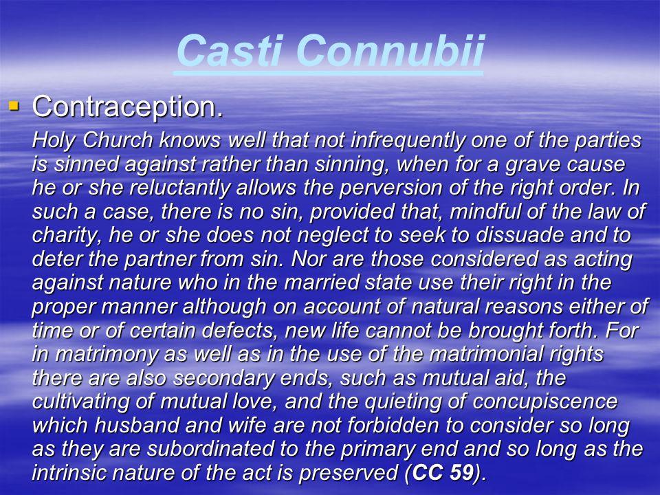 Casti Connubii Contraception.