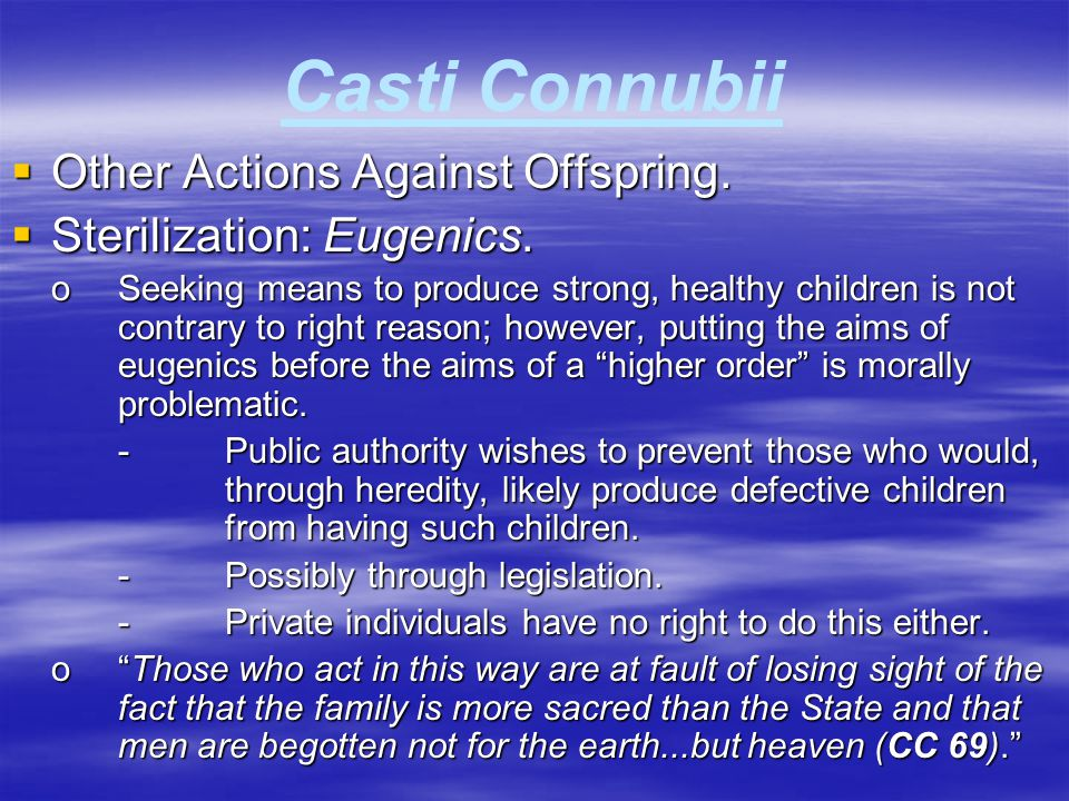 Casti Connubii Other Actions Against Offspring.