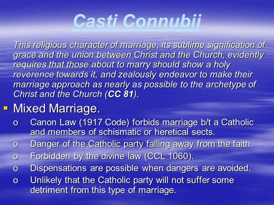 Casti Connubii Mixed Marriage.