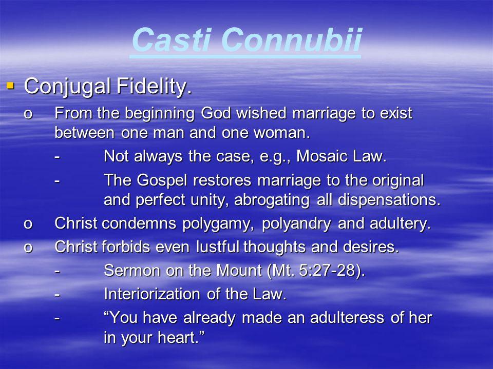 Casti Connubii Conjugal Fidelity.