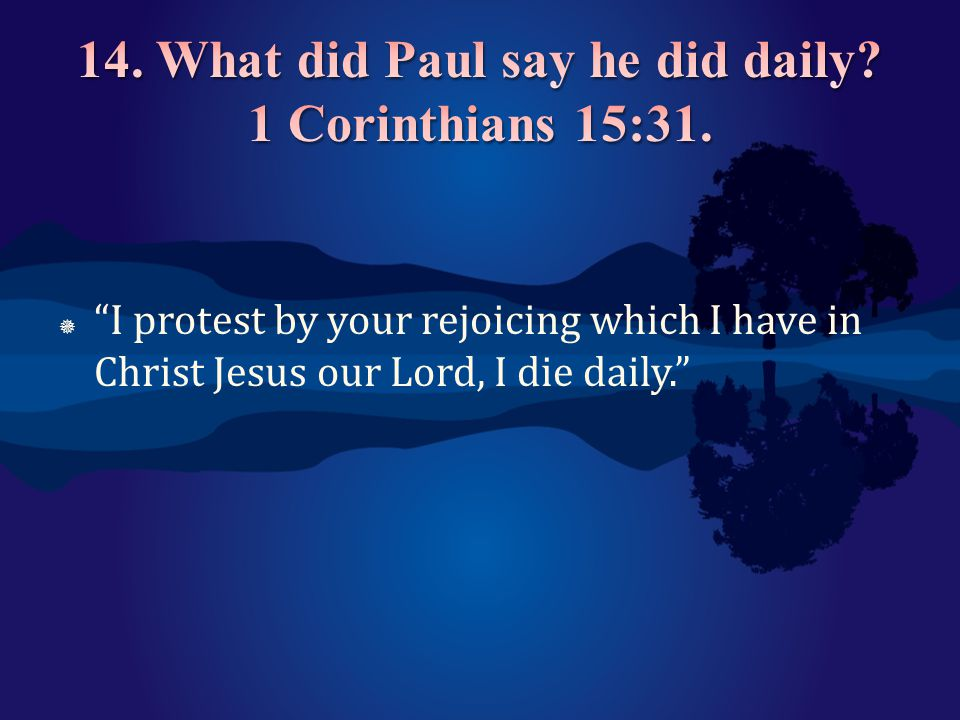 14. What did Paul say he did daily 1 Corinthians 15:31.