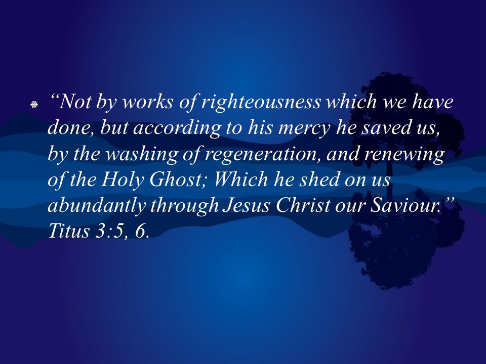 Not by works of righteousness which we have done, but according to his mercy he saved us, by the washing of regeneration, and renewing of the Holy Ghost; Which he shed on us abundantly through Jesus Christ our Saviour. Titus 3:5, 6.