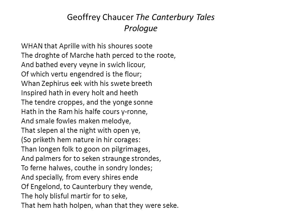 Geoffrey Chaucer The Canterbury Tales Prologue