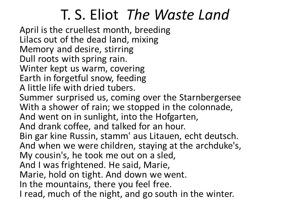 T. S. Eliot The Waste Land