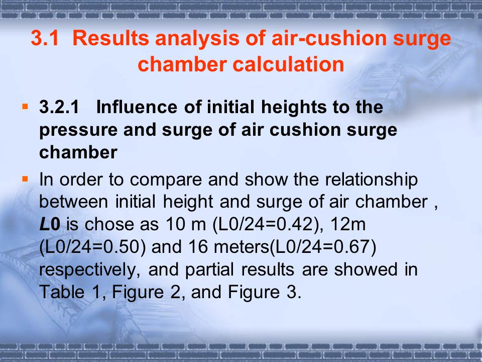 3.1 Results analysis of air-cushion surge chamber calculation
