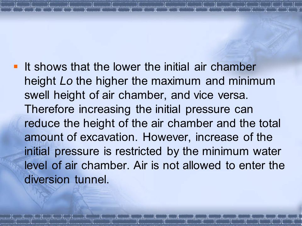 It shows that the lower the initial air chamber height Lo the higher the maximum and minimum swell height of air chamber, and vice versa.
