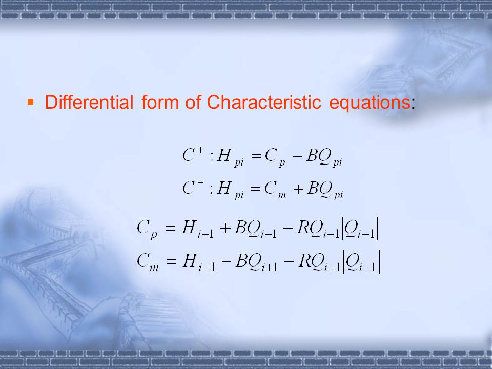 Differential form of Characteristic equations: