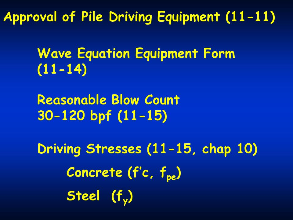 Approval of Pile Driving Equipment (11-11)