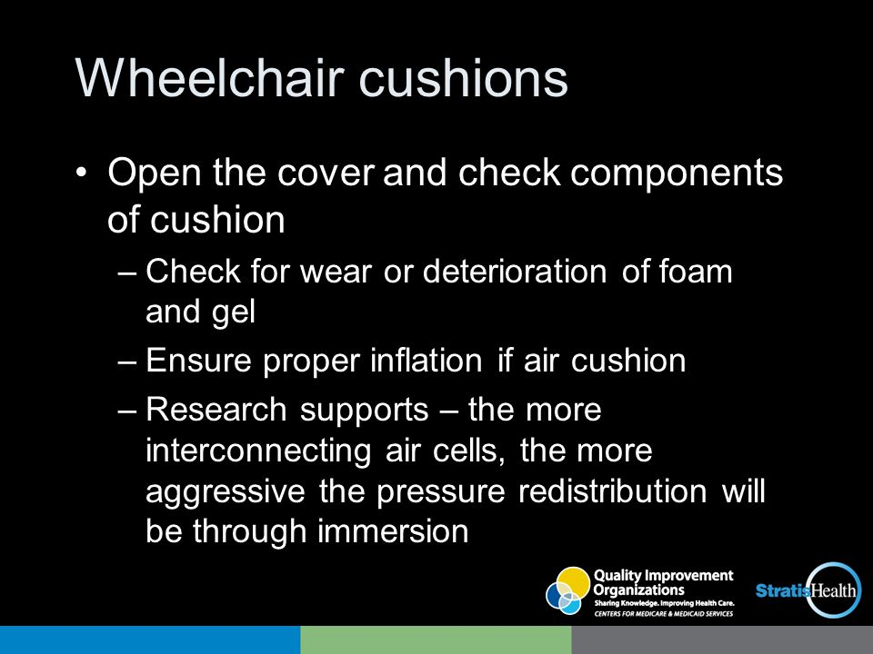 Wheelchair cushions Open the cover and check components of cushion