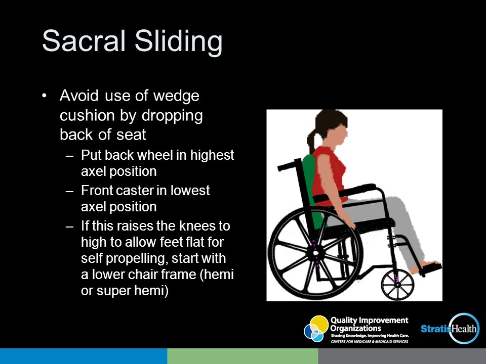 Sacral Sliding Avoid use of wedge cushion by dropping back of seat