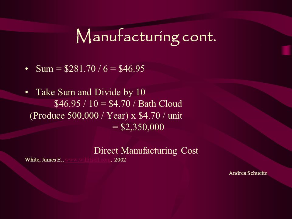 Direct Manufacturing Cost