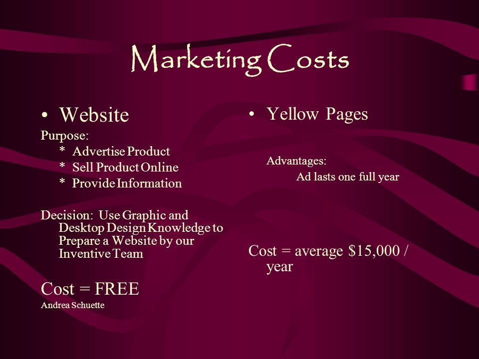 Marketing Costs Website Yellow Pages Advantages: Cost = FREE