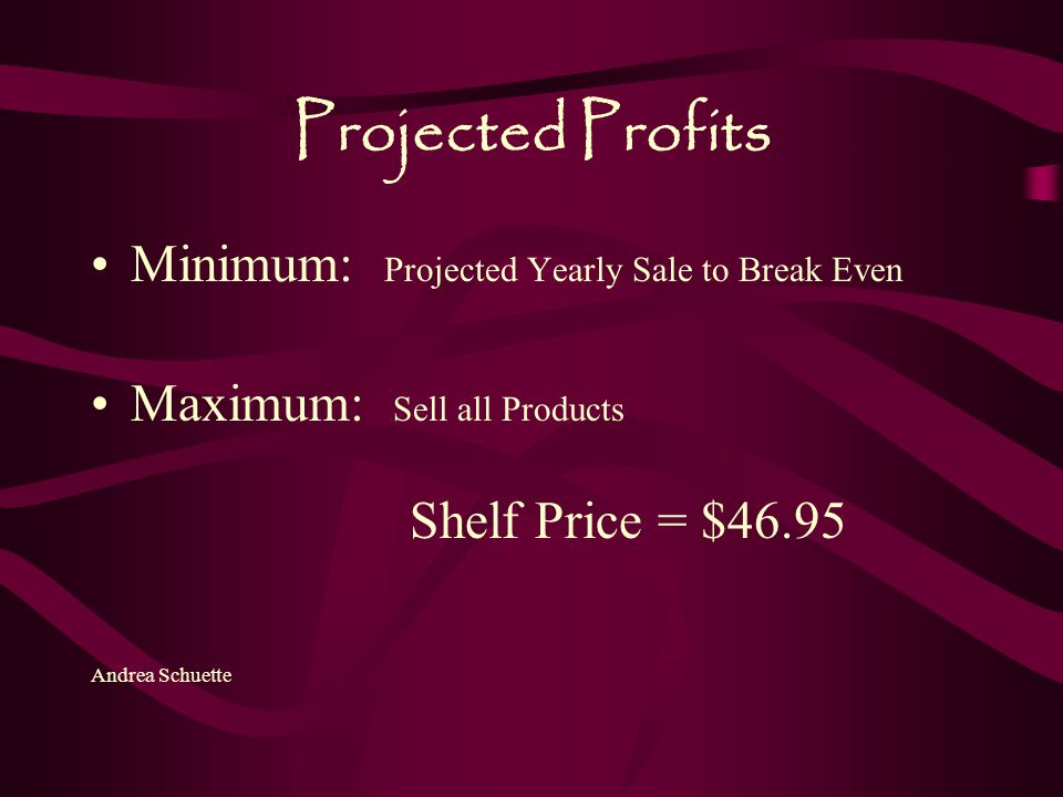 Projected Profits Minimum: Projected Yearly Sale to Break Even