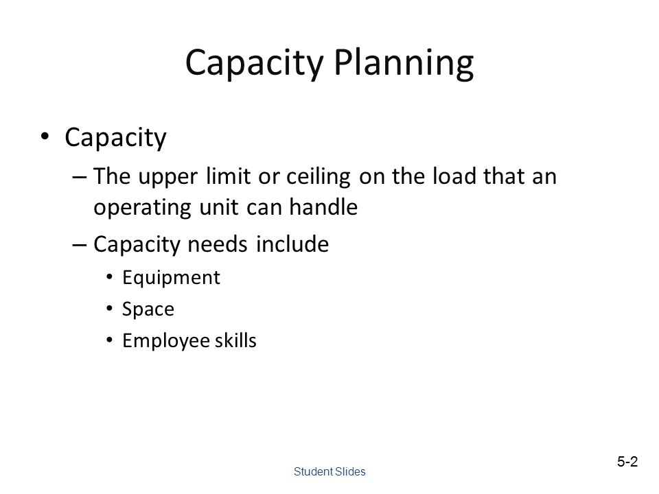 Capacity Planning Capacity