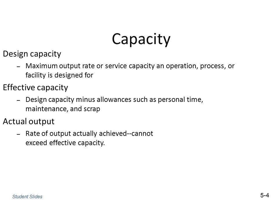 Capacity Design capacity Effective capacity Actual output