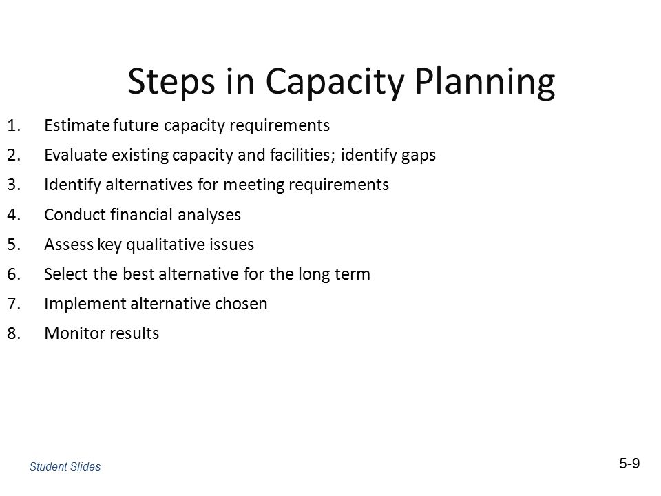 Steps in Capacity Planning