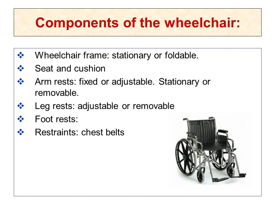 Components of the wheelchair: