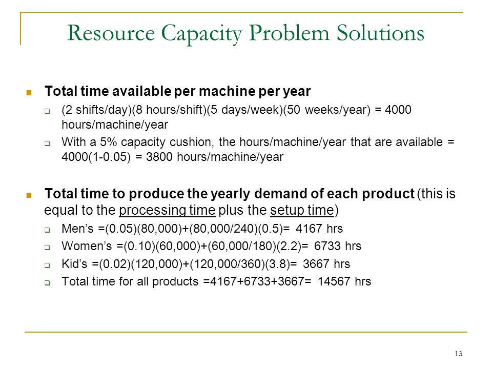 Resource Capacity Problem Solutions