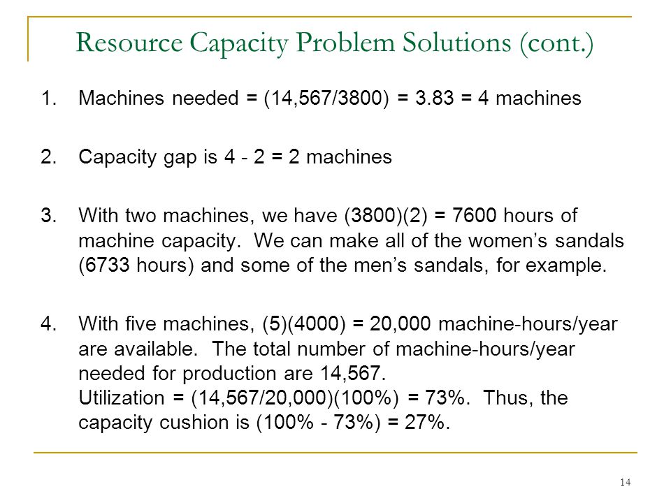 Resource Capacity Problem Solutions (cont.)