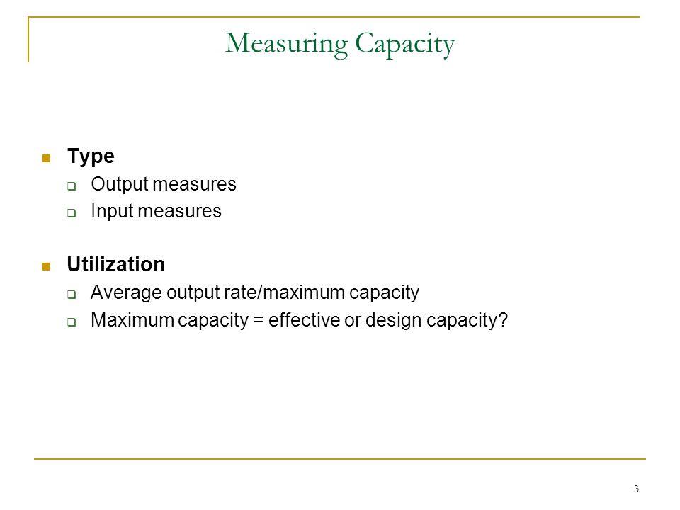 Measuring Capacity Type Utilization Output measures Input measures