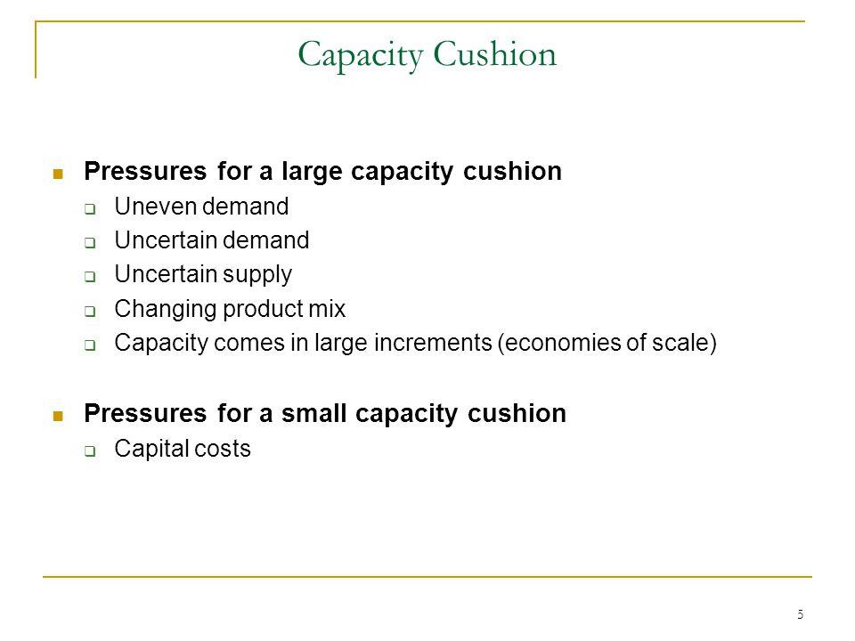 Capacity Cushion Pressures for a large capacity cushion