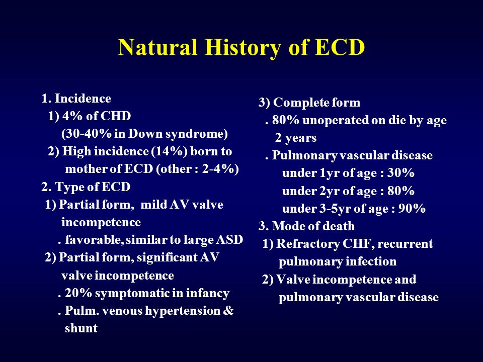 Natural History of ECD 1. Incidence 3) Complete form 1) 4% of CHD