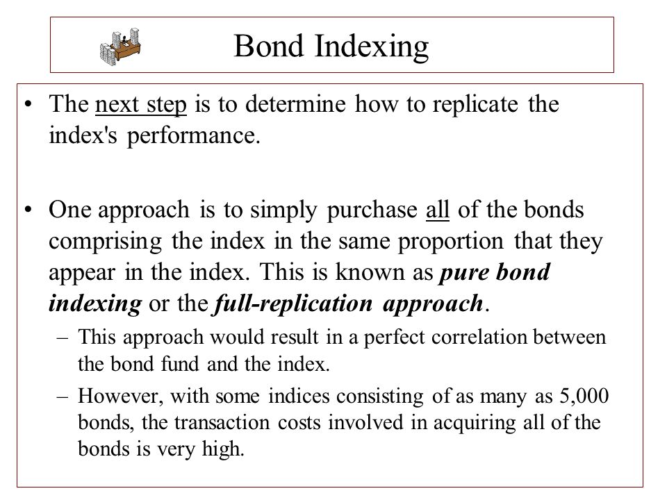 Bond Indexing The next step is to determine how to replicate the index s performance.