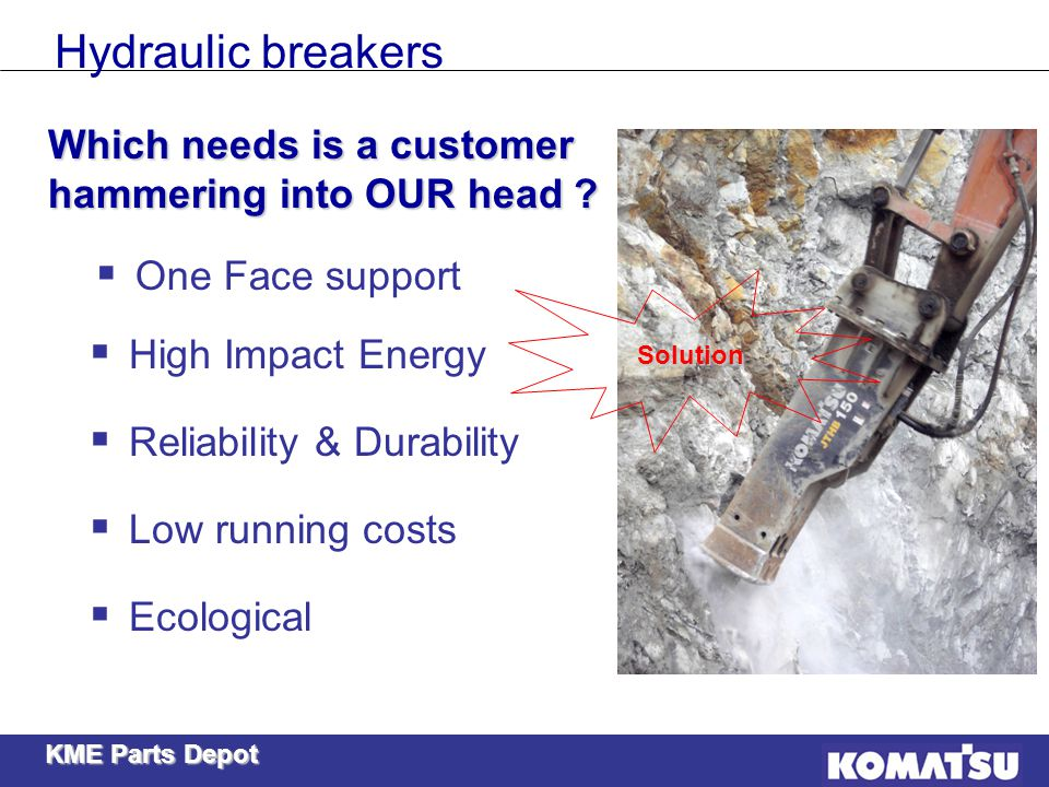 Hydraulic breakers Which needs is a customer hammering into OUR head