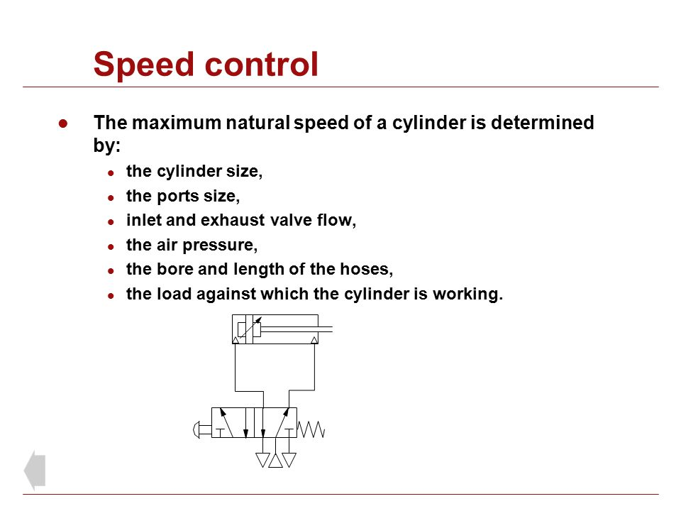 Speed control The maximum natural speed of a cylinder is determined by: the cylinder size, the ports size,