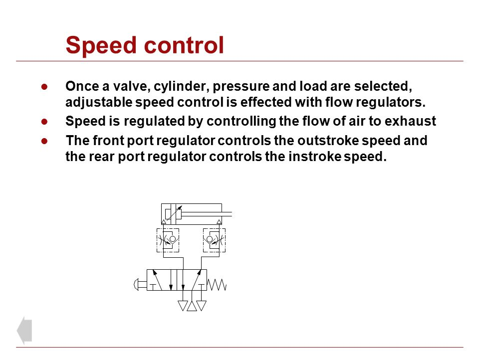Speed control Once a valve, cylinder, pressure and load are selected, adjustable speed control is effected with flow regulators.