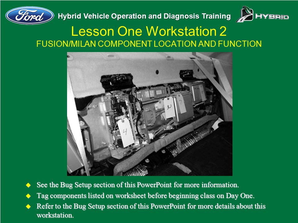 Lesson One Workstation 2 FUSION/MILAN COMPONENT LOCATION AND FUNCTION