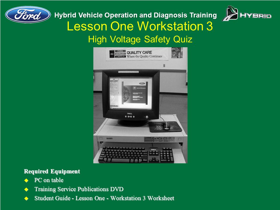 Lesson One Workstation 3 High Voltage Safety Quiz
