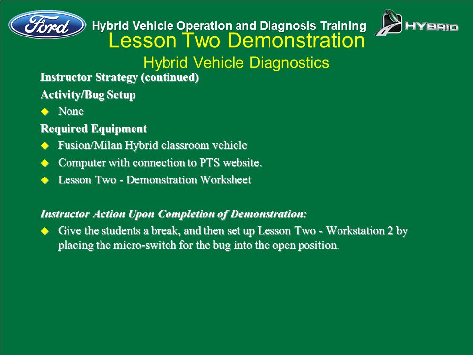 Lesson Two Demonstration Hybrid Vehicle Diagnostics