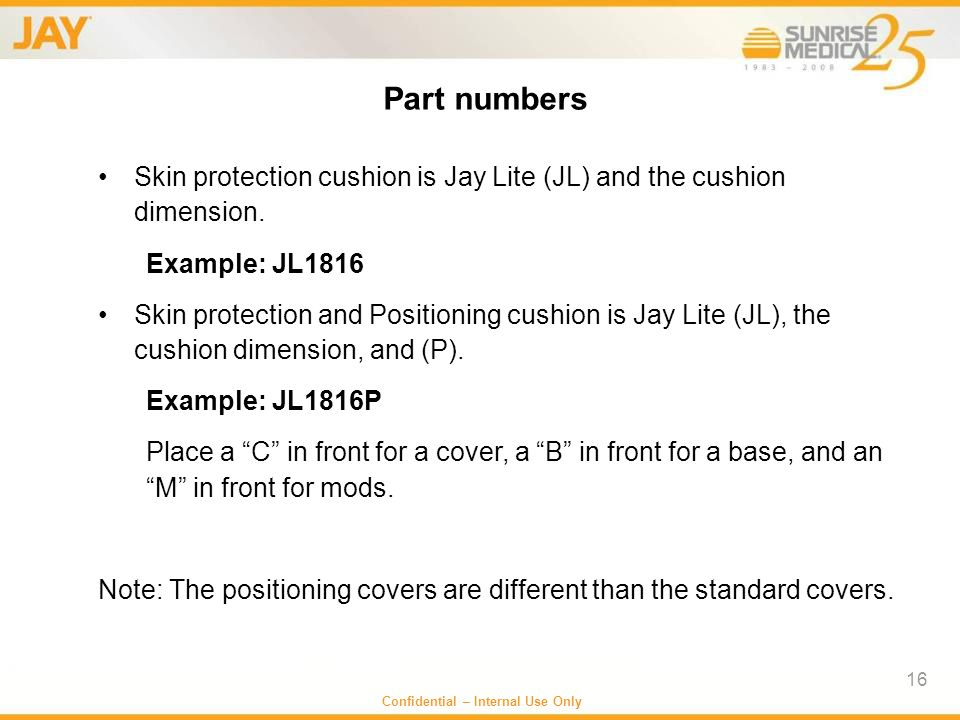 Part numbers Skin protection cushion is Jay Lite (JL) and the cushion dimension. Example: JL1816.