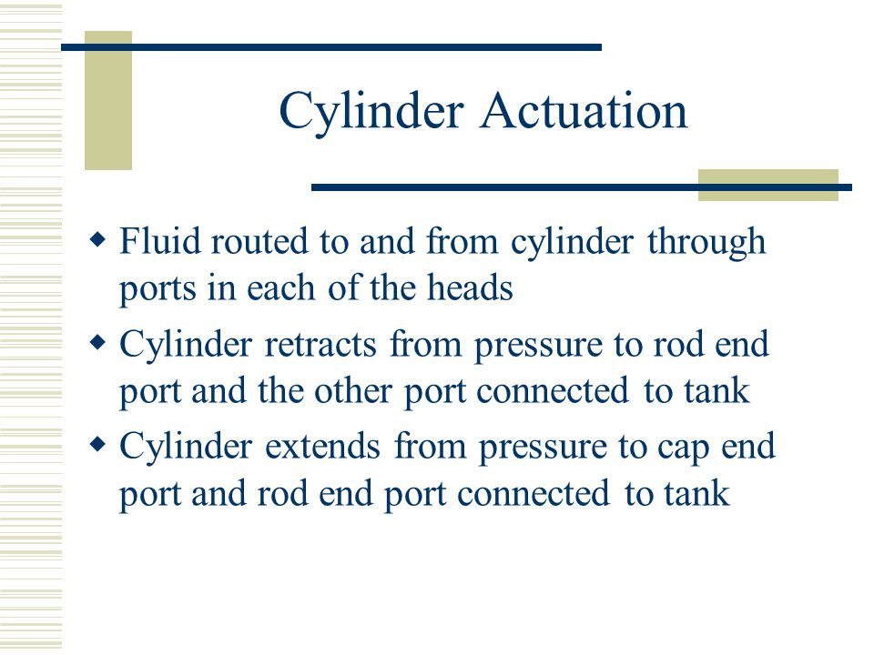 Cylinder Actuation Fluid routed to and from cylinder through ports in each of the heads.