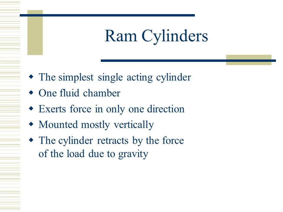 Ram Cylinders The simplest single acting cylinder One fluid chamber