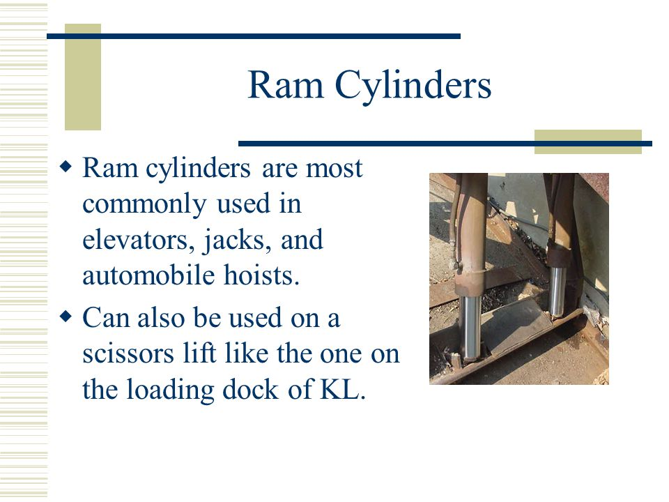 Ram Cylinders Ram cylinders are most commonly used in elevators, jacks, and automobile hoists.