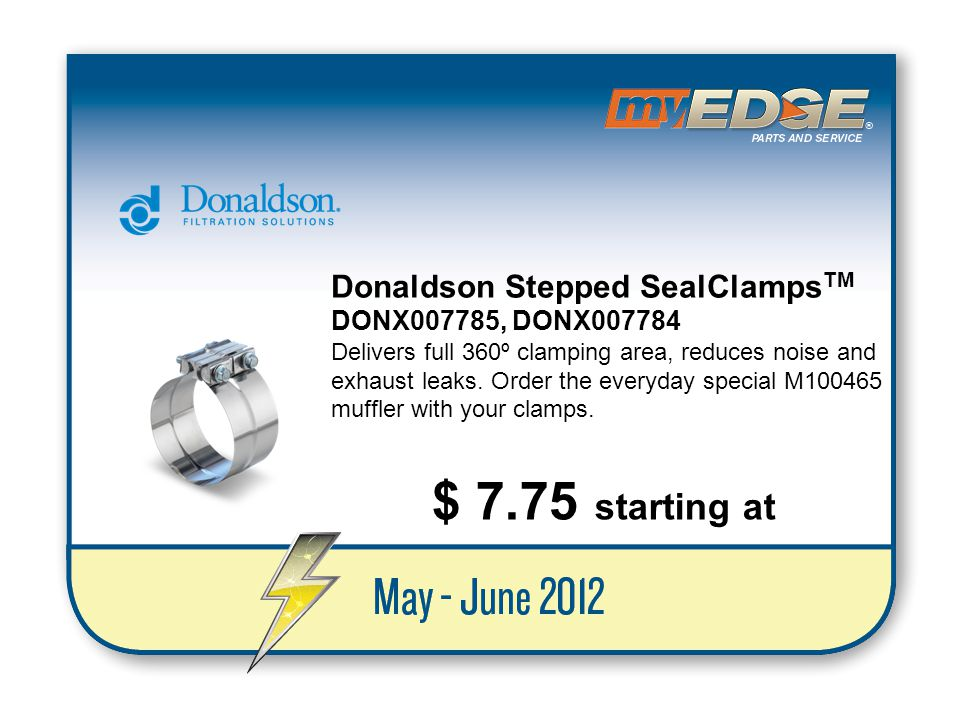 $ 7.75 starting at Donaldson Stepped SealClampsTM